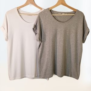 2 ONLY T-Shirts Ultra Soft White and Grey